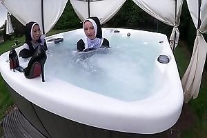 Yoke naughty nuns obtain scruffy forth the hawt tub