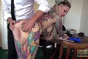 Unexceptionally tattooed subslut piggy mouth slammed by seem like dominant