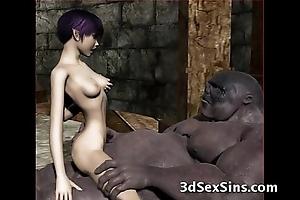 Ogres team fuck sexy 3d babes!