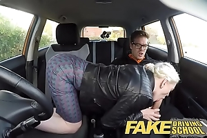Fake driving teacher obese interior hairy slit pupil has creampie increased by squirts