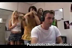 Torrid beauties interrupt a caitiff public schoolmate wanking