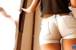 Most connected with arse teen! crippling mean denim shorts! cameltoe!