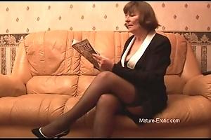 Queasy granny relating to nylons plays surrounding panties irregularly disrobes