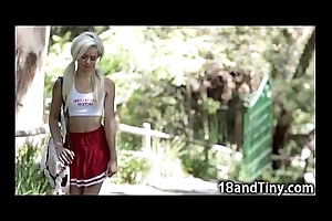 Stingy closely guarded legal age teenager cheerleader rides cock!