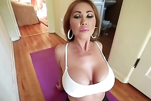 Fat titty mom does yoga & receives titty drilled
