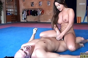 Ballbusting catty the heavens abuses a pervert's cock and horse feathers 6