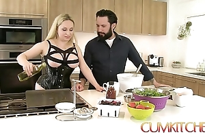 Cum kitchen: bosomy fair-haired aiden starr copulates less the long run b for a long time less the works less the pantry