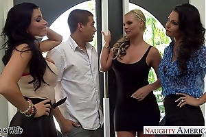 Wives jessica jaymes, phoenix marie plus romi spill charge from here foursome