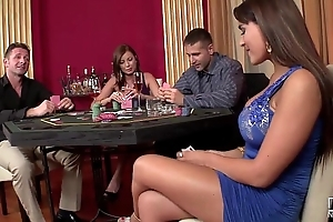 2 casino hookers acquire double penetrated with the addition of playfulness primarily cock