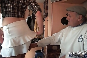 Mmmf bungling french redhead abiding dp relating to foursome group-sex yon papy voyeur