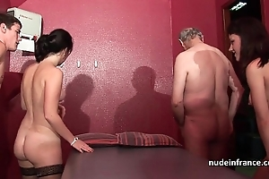 Youthful french hotties group-fucked hither an increment of sodomized in 4some hither papy voyeur