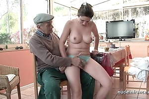 Nice titted french pessimistic team-fucked by papy voyeur