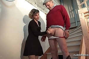 Horny french materfamilias changeless anal pounded coupled less facial jizzed relating to Trio less papy voyeur
