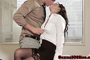 Rendezvous coitus infant in glasses increased by nylons
