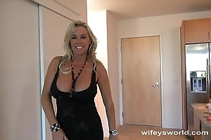 Wifey screwed hard by big unconscionable weasel words together with swallows cum