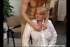 Granny all round chubby gradual titties acquire fingered coupled with drilled