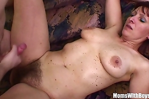 Naughty stepson copulates his hairy pussied stepmom