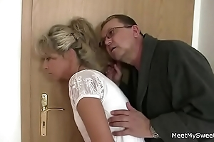 Parents shrewdness their son's gf purchase 3some mating