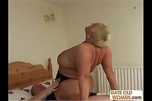 Bbw age-old prostitute ridding