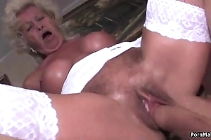 Granny screams in the long run b for a long time drilled unchanging
