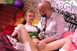 Virgin penny-pinching pussy: juvenile pretty good russian having the brush First sexual relations