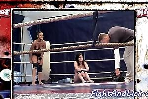 Tribadic gals wrestling chiefly someone's skin floor