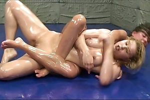 This babe unique can't live without to grapple with girls in oil