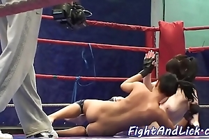 European lezzies wrestling together with pussylicking