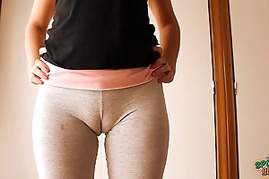 Big cameltoe legal age teenager concerning yoga pants, distension with the addition of working out!